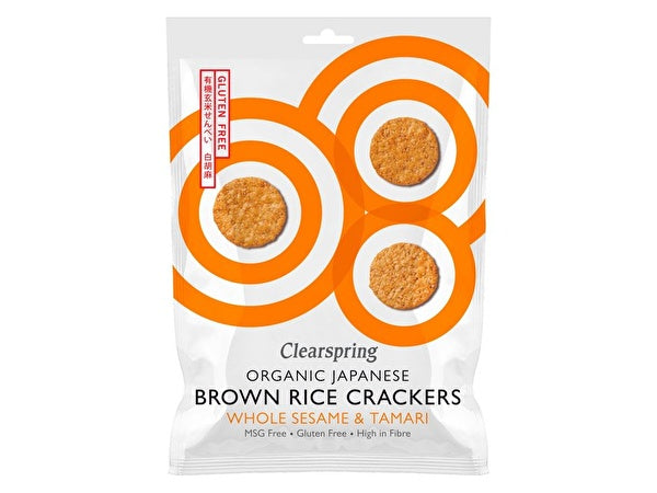 Clearspring Brown Rice Crackers - Whole Sesame - 40g