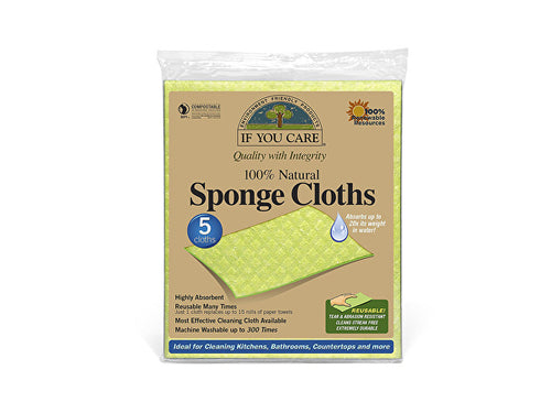 If You Care Cellulose & Cotton Natural Sponge Cloths - 5 Pack
