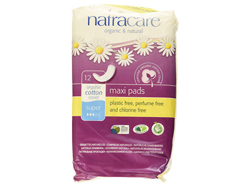 Natracare Natural Maxi Pads - Super - 12s