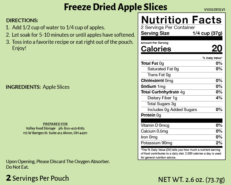 Freeze Dried Apple Slices Nutritional Information