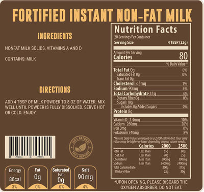 Limited Supply: Fortified Instant Non-Fat Milk Valley Food Storage