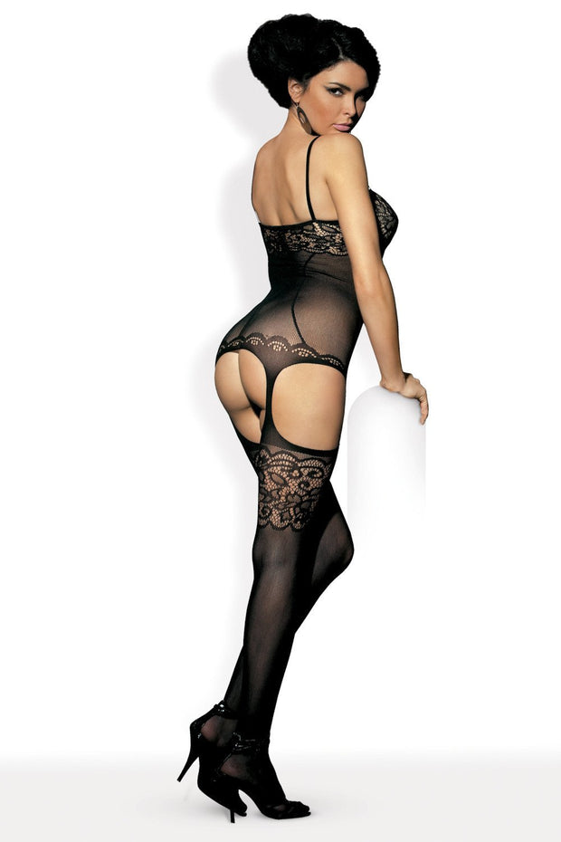 Lace Bouquet Bodystocking, Musta-Obsessive-LouLou