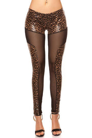 Leopardi wetlook-mesh Leggingsit-KouCla-LouLou