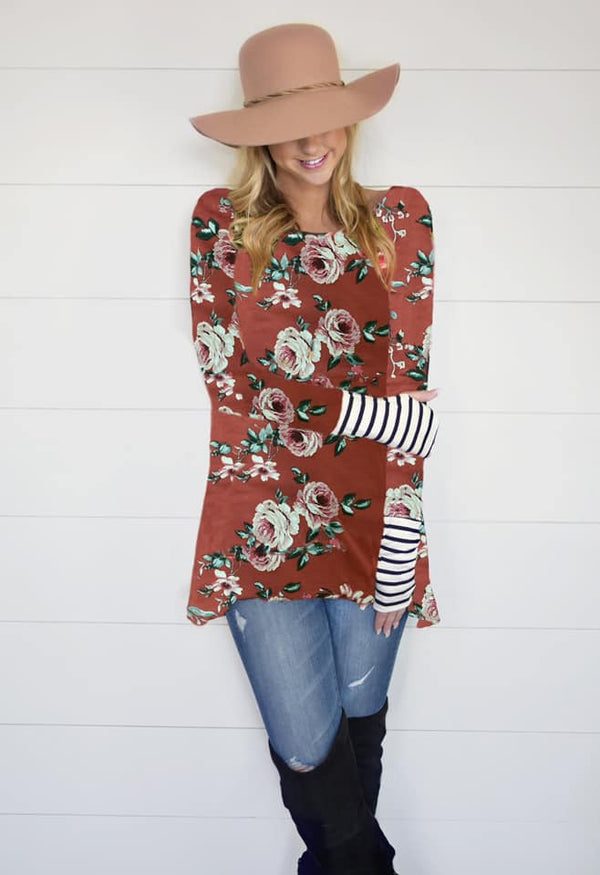 Dark Coral Floral Long Sleeve Flowy Thumb Hole Top