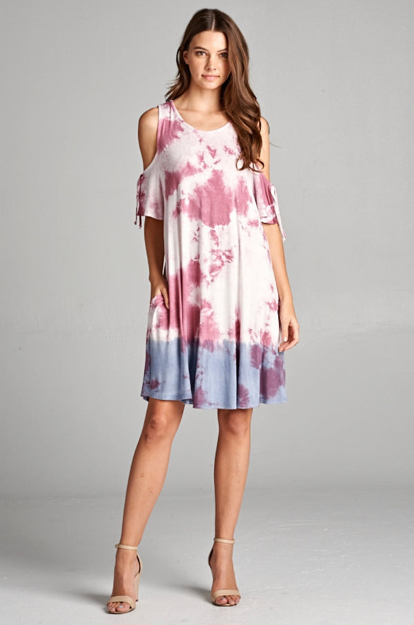 Tie Dye Dipped Cold Shoulder Dress w/Pockets