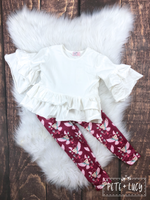 Pete+Lucy Beautiful Owls and Frilly Top Pant Set