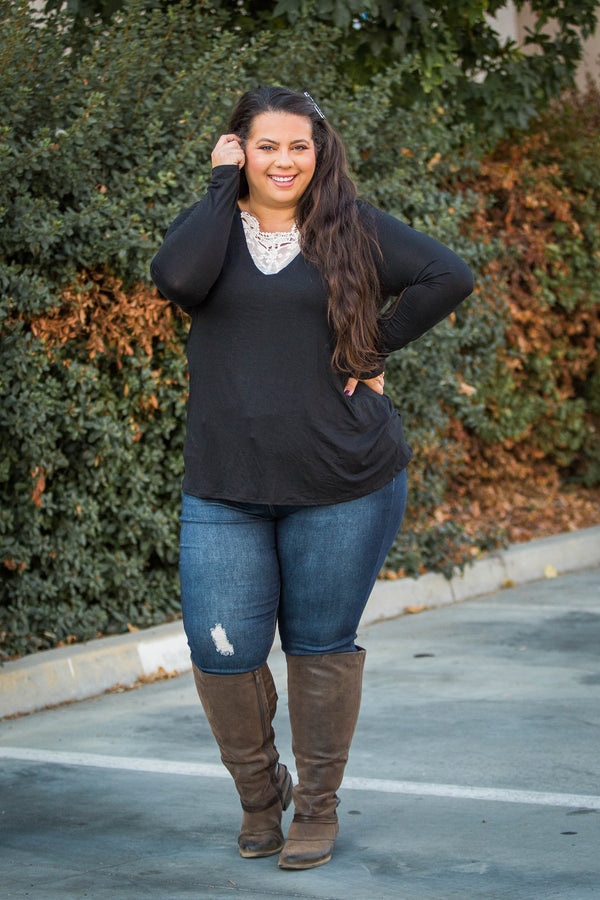 Entwined With You Long Sleeve Top in Black