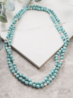 "Light Blue- The Essential 60"" Stone and Bead Necklace"
