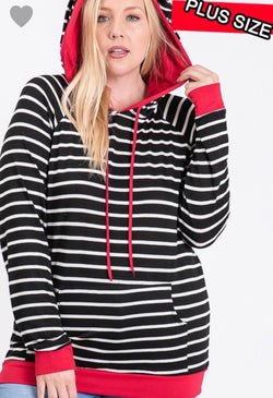 Black Ivory Red Lightweight Striped Hoodie