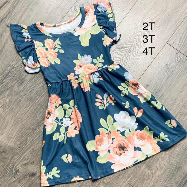 Little Girls dress Dusty Blue with Coral Flowers