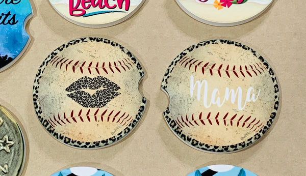 Sandstone Car Coasters Set of 2 - Baseball Mama Leopard