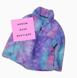 Sherpa Style Pullover - Purple Tie Dye - Adult and Kids