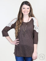 BROWN Crochet Cold-Shoulder Top