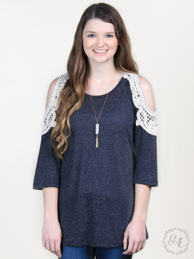 NAVY Crochet Cold-Shoulder Top