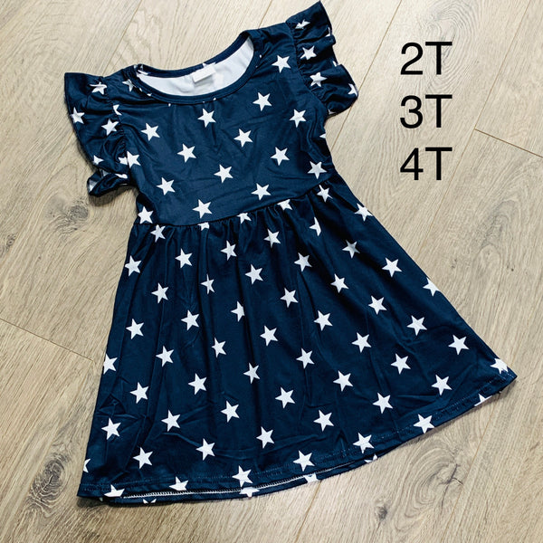 Girls Navy Blue with White Stars Dress