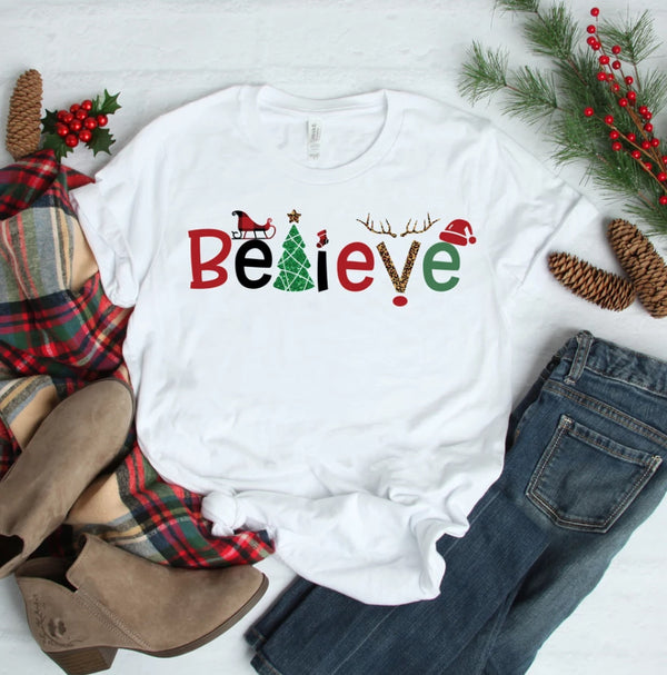 Believe Christmas Raglan Top with Red Sleeves