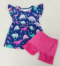 Girls Dino Shirt & Ruffled Pink Shorts set