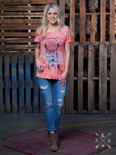Dreams Can Take you Anywhere on Pink Tye Dye Short Sleeve Shirt