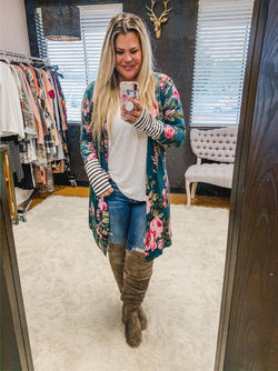 Teal Floral Open Cardigan with Contrasting Thumb Hole Cuffs