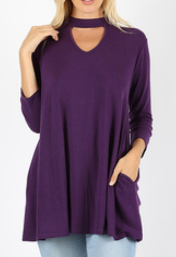 PURPLE 3/4 sleeve choker neck top with side pockets