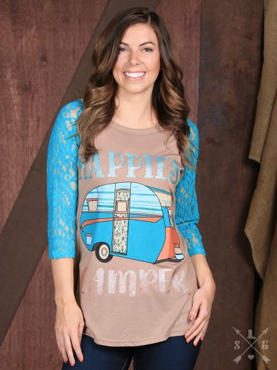 Happiest Camper Tan Raglan with Turquoise Lace Sleeves