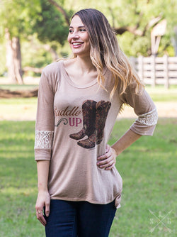 Saddle Up on Light Brown Tunic with Cream Lace Accents