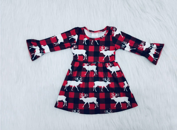 Buffalo Plaid Girls Dress with White Reindeer