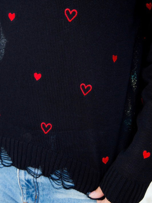 Distressed Heart Sweater Black with Red