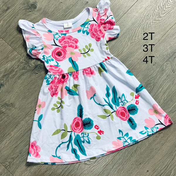 Little Girls White Floral Ruffle Sleeve Dress with Pinks & Teal