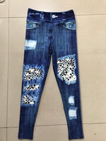 Denim Look Leggings Cream Leopard Patch