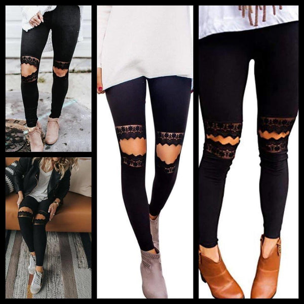 Lace Knee Black Leggings