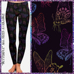 Butterfly colorful outlines on black Leggings Adult & Kids
