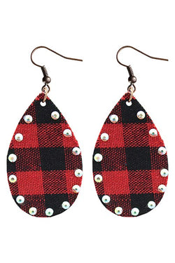 Tear Drop Buffalo Plaid Fabric Earrings with Rhinestone accents - Lightweight