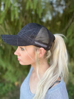 Sparkle Black Glitter Ponytail Hat