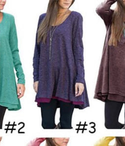 Loose and Flowy Tunic Length Purple Top Long Sleeve