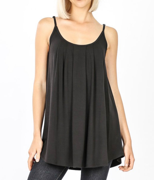 Black Flowy Cami Tank with Adjustable Straps