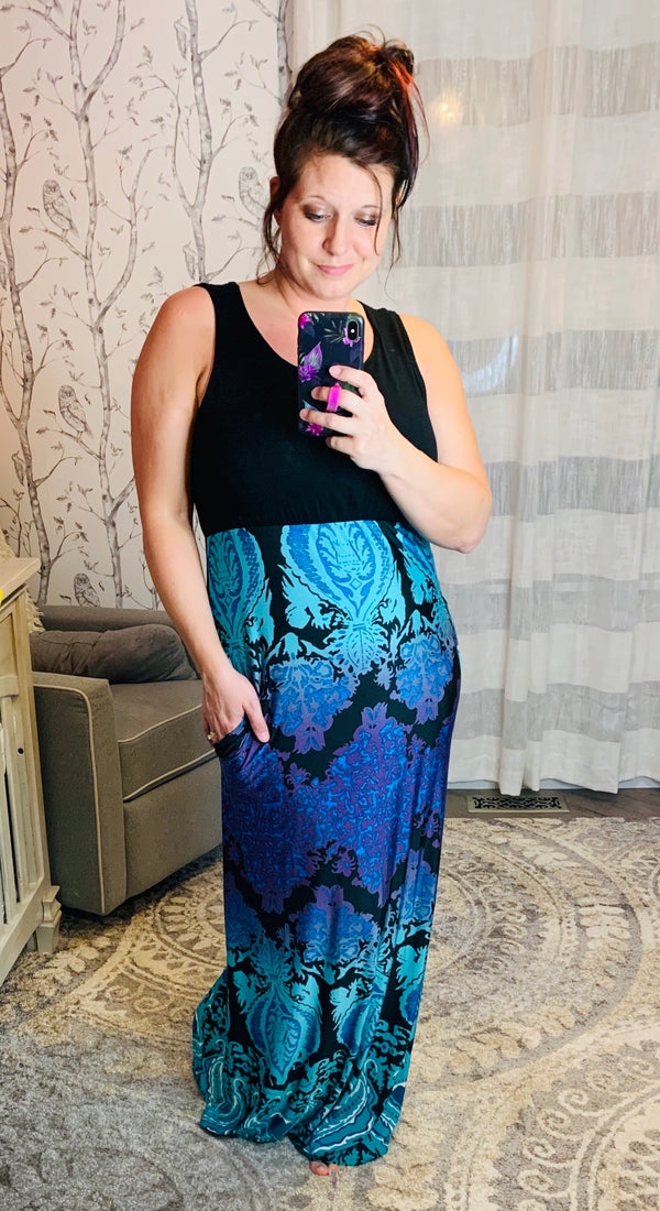 Vibrant Maxi Tank Dress w/ Pockets