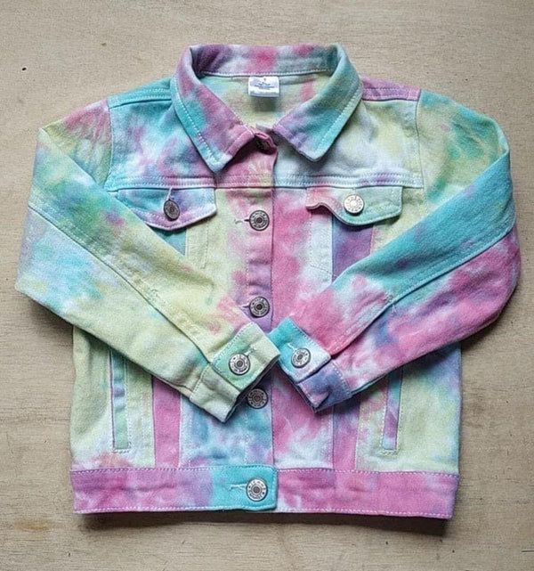 Girls Vibrant Tie Dye Denim Jacket