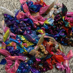 Foiled Sparkly Hair Scrunchies - With or Without Bow