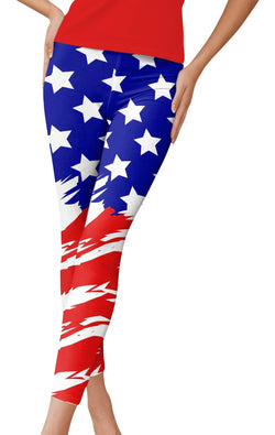 American Flag Red White & Blue Leggings