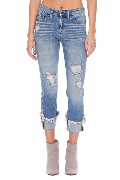 Judy Blue Cuffed Destroyed Relaxed Fit Jeans