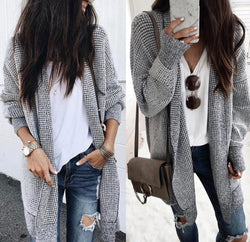 Navy & Off White Open Front Long Cardi