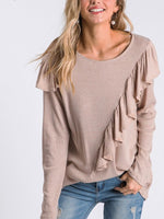 Ruffle Couture Round Neck Long Sleeve Top Taupe