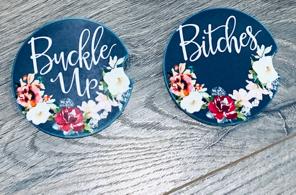 Sandstone Car Coasters Set - Buckle Up Bitches Floral
