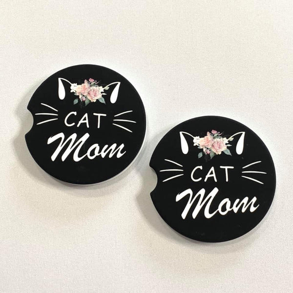 Cat Mom Sandstone Car Coasters Set
