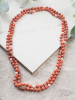 "The Essential 60"" Stone and Bead Necklace - Orange"