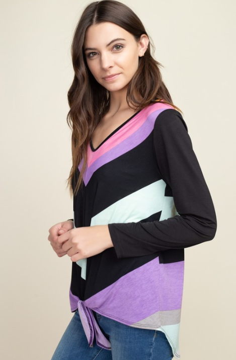 Neon Path Front Tie Long Sleeve