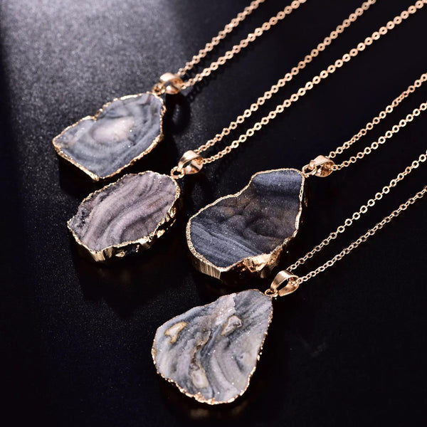Natural Gray Stone Crystal Necklace with Gold Setting & Chain