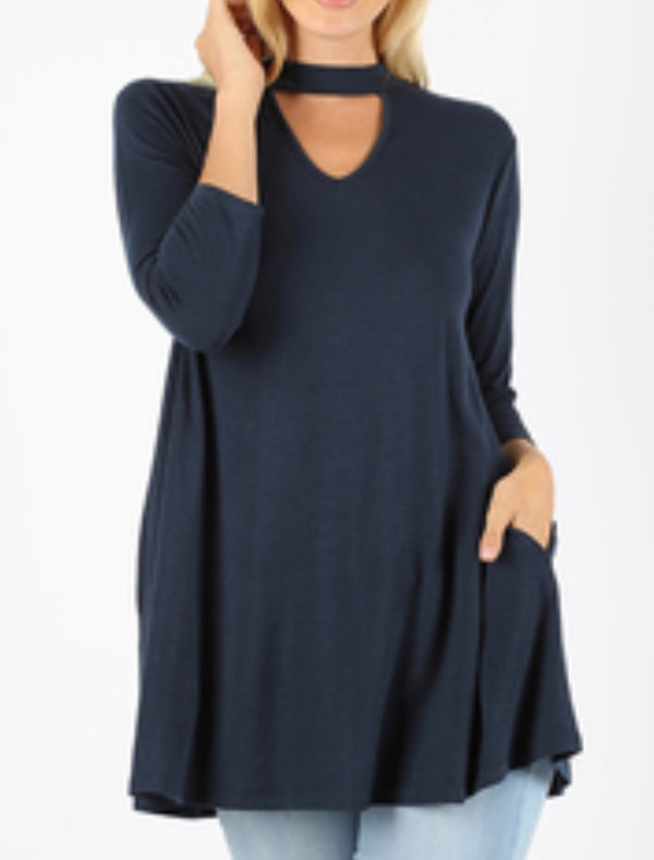 NAVY 3/4 sleeve choker neck top with side pockets