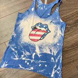 AMERICAN Rock N Roll Tongue Distressed Tank